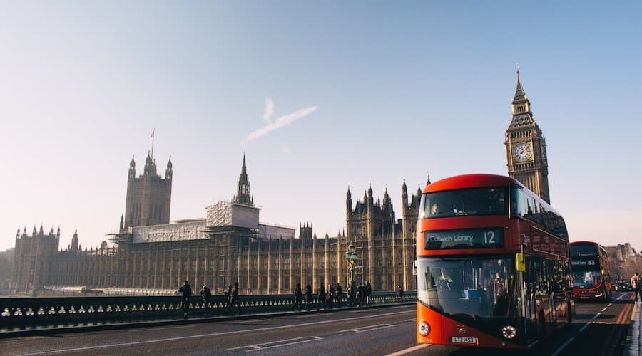 London roter Bus und Big Ben