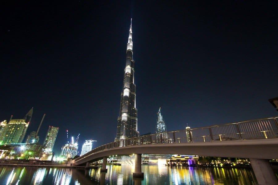 Burj Khalifa in Dubai bei Nacht